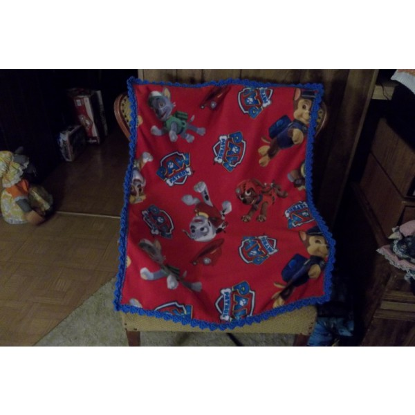 Paw Patrol Baby Fleece Blanket with Crochet Edging Car Seat Cover Crib Blanket