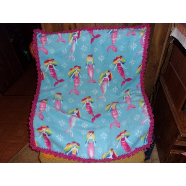 Mermaids and Rain Bows Baby Fleece Blanket with Crochet Edging