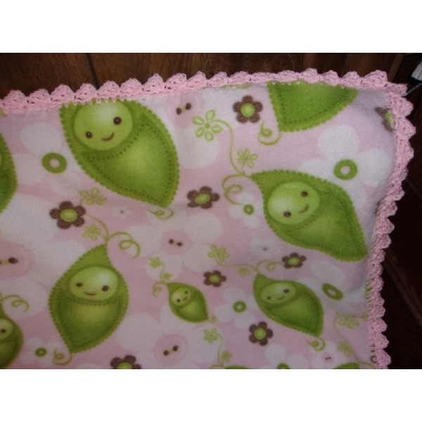 Peas in Pod Pink Fleece Baby Blanket Crib Blanket Baby Coverup