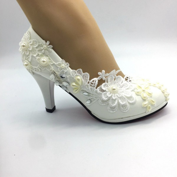 Women SHOES  white lace Pearl   Wedding HEEL shoes Bridal Bridesmaid shoes size35-41