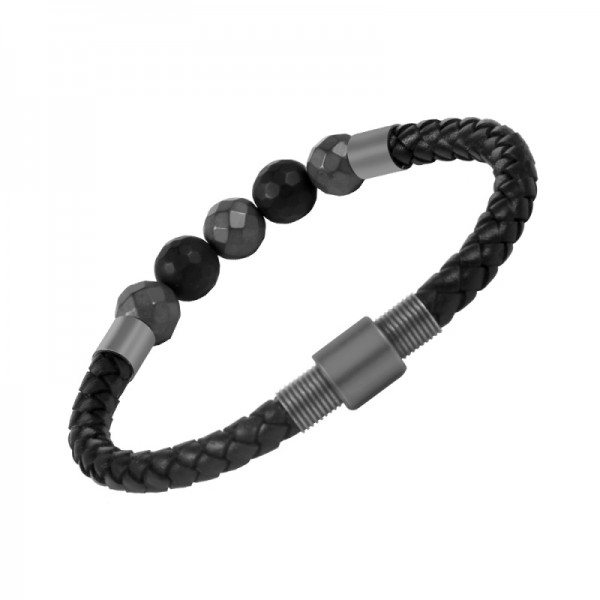 Men's Bracelet, Natural Healing Oynx Stone Genuine Leather Braided Stainless Steel Bracelet with Engraved Magnetic Clasp