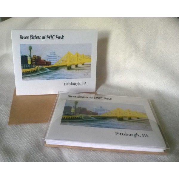 Three Sisters at PNC Park-Boxed Set of 5 Color Blank Notecards w/Envelopes