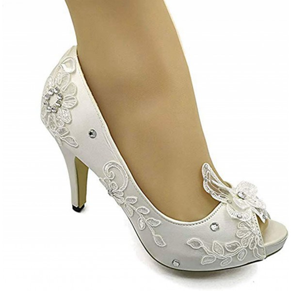 Handmade Women's LACE Satin Shoes Fish Mouth Toe High Heel Stiletto Wedding Bridal Party Pumps Shoes