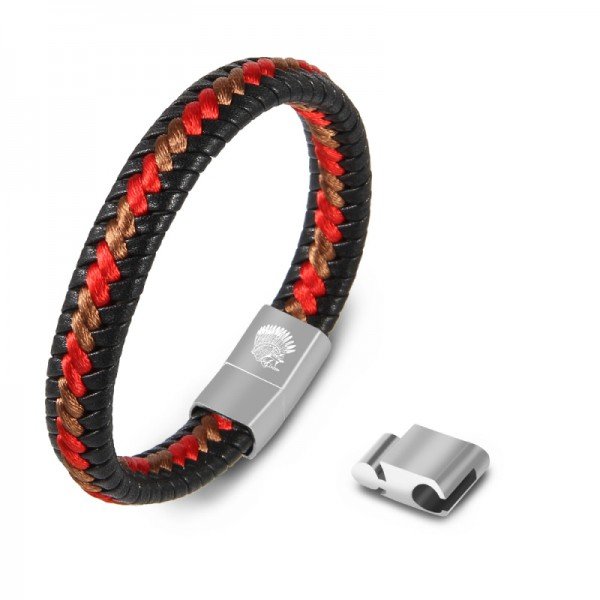 Mens Leather Bracelet – Handmade Braided Cuff Bracelet with Size Adjustable Engraved Magnetic Clasp Free Jewelry Gift Boxed