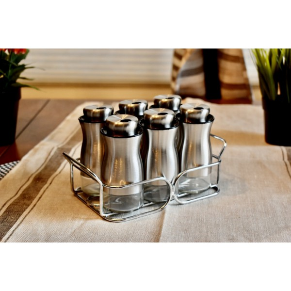 Designed silver shakers gift package, 3 Adjustable pour holes, stainless steel with glass bottom, best choice for gift, set of 6 with rack