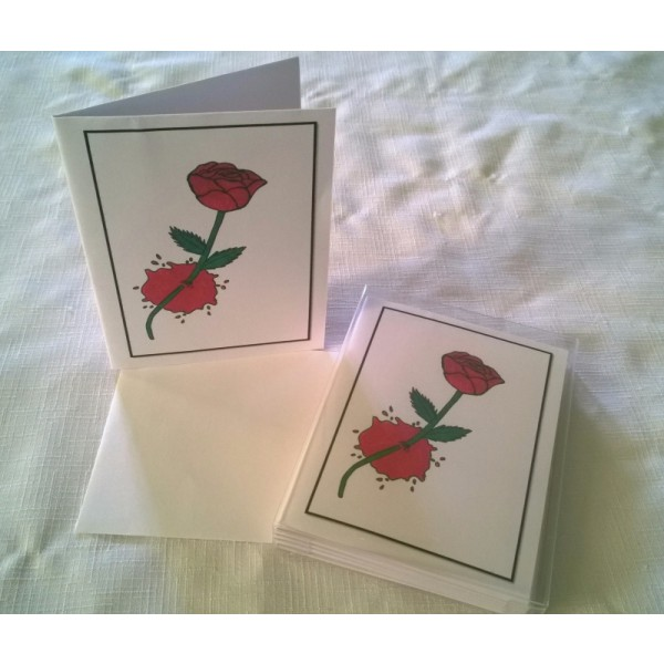Wounded Rose-Color Halloween Goth Digital Art Blank Notecards w/Envelopes Boxed Set of 5