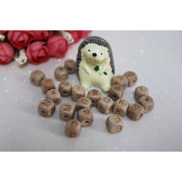 12mm 26 Alphabet Cube Baby Teething Necklace Bracelet Beech Wooden Letter Beads - 52 pcs