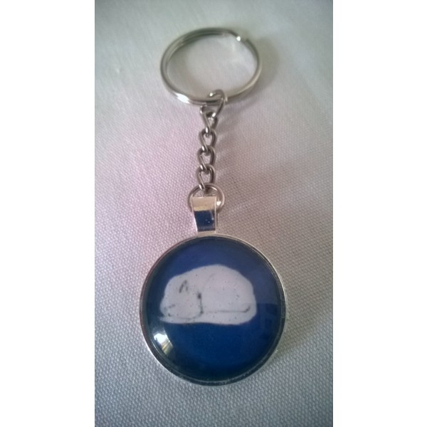 Sleeping White Cat Blue Glass Dome Pendant Keychain Original Design by Joann Renner Gift Under 10