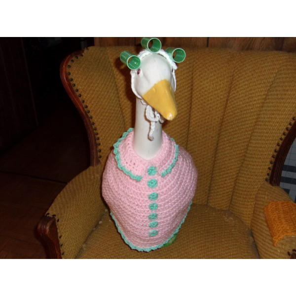 Mother Goose Geese Outfit Crochet Garden Statue Clothes Patio Decor