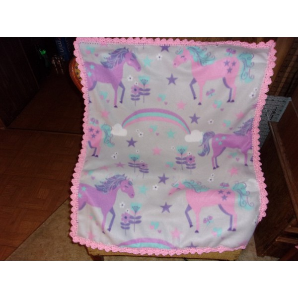 Unicorns Baby Fleece Blanket Crochet Edging Baby Buggy Coverup
