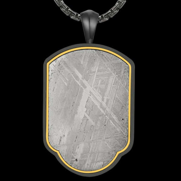 Men Stainless Steel Gibeon Meteorite Blessing Pendant Silver Necklace with Free Chain Ideal Gift for Family & Friends