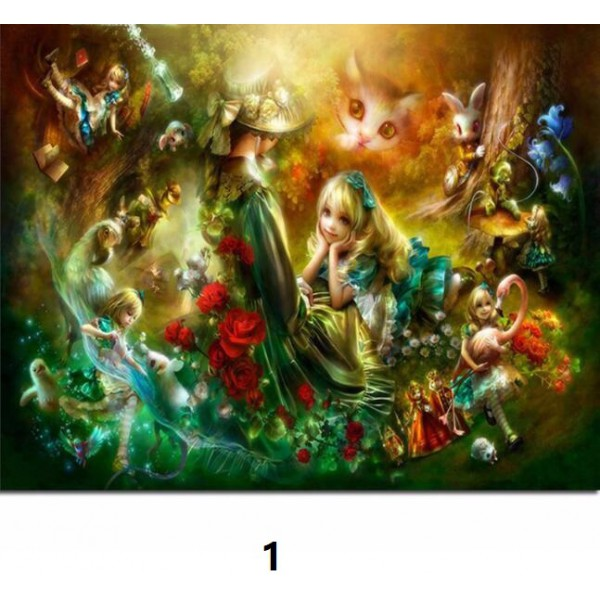 alice in wonderland diamond painting kit full square driill poster cartoon wall decor anime figure wall art picture 55cmx70cm