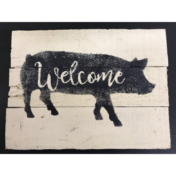 Welcome Pig Pallet Sign, On The Farm Pallet Art, Pig Wall Hanging, Pig