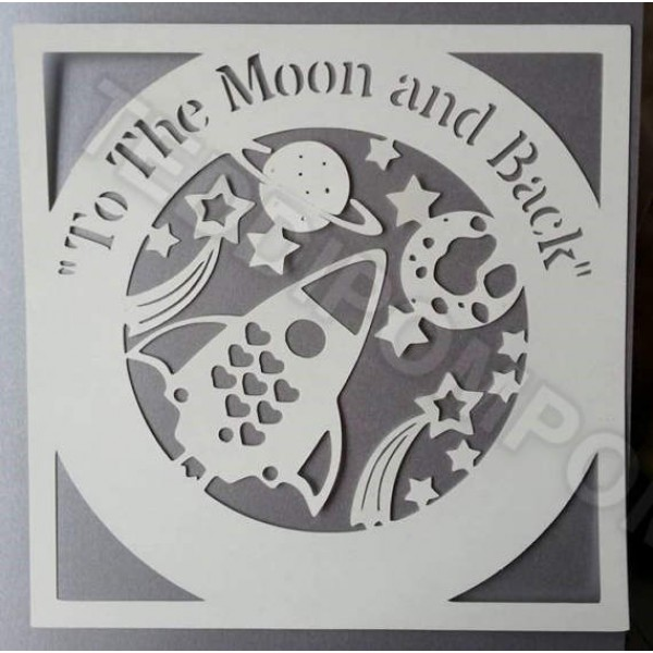 To The Moon and Back Outer Space svg cricut & silhouette cameo cutting template, scrapbooking, papercutting, card making, digital upload