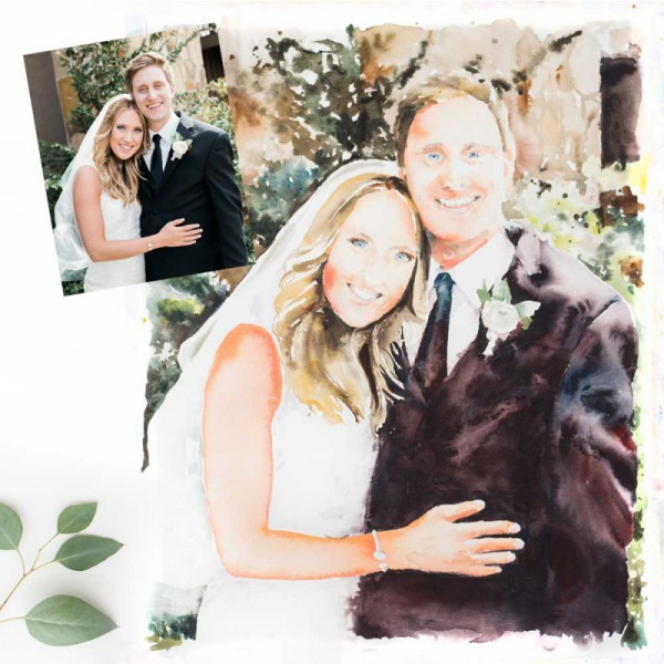 Hand Painted Watercolor 16 x 20 Wedding Portrait from your photo - beautiful wedding gift or anniversary celebration