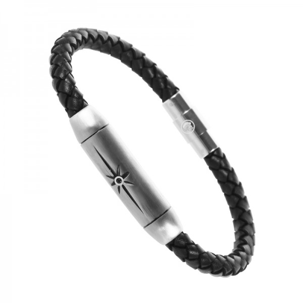 Stainless Steel Leather Bracelet for Men, Leather Braided Handcraft Bracelet with Magnetic Clasp, with Jewelry Gift Box
