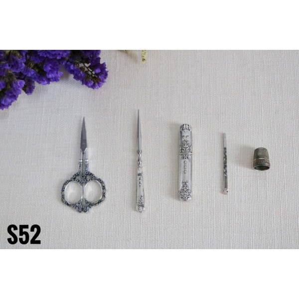 Stainless Steel Scissors Set Vintage European Tool Alloy Awl Threader Thimble Needle Case Kit
