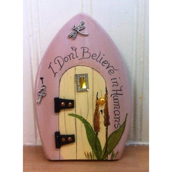 Fairy door, wooden fairy door, Humorous fairy door, handmade fairy door