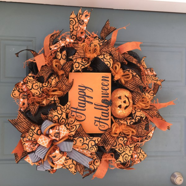 Orange Happy Halloween Wreath Wreaths Door Front Mesh