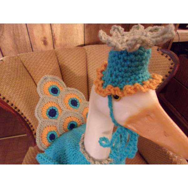Peacock Geese Goose Crochet Outfit Garden Statue Clothes Lawn Goose Clothes Outdoor Decor