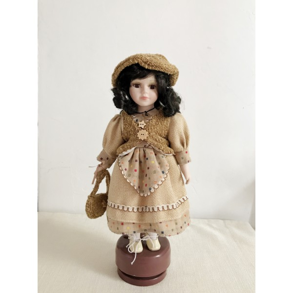 Brown Rotating Music Stand Doll Accessories Car Fix Stand Doll Display Stand For Teddy Bear