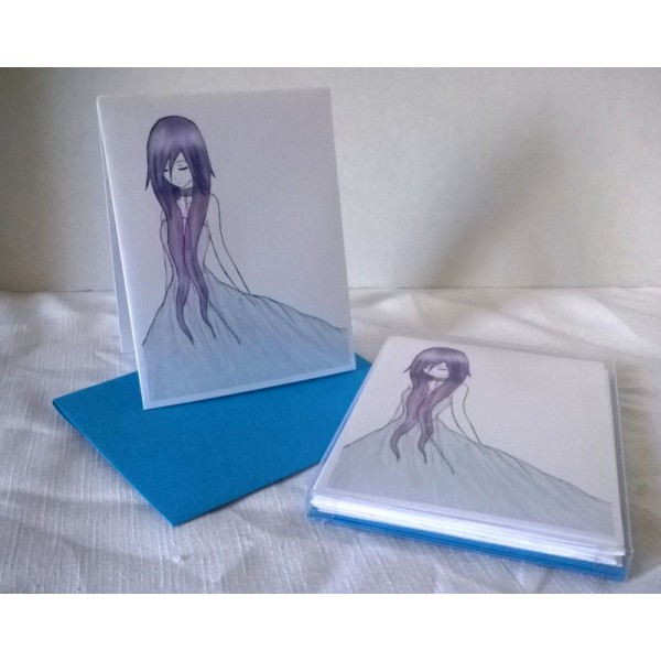 Broken Chains by Jessica Renner Color Japanese Style Manga Blank Notecards w/Envelopes Boxed Set of 5 Teen, Young Adult Gift Digital Art