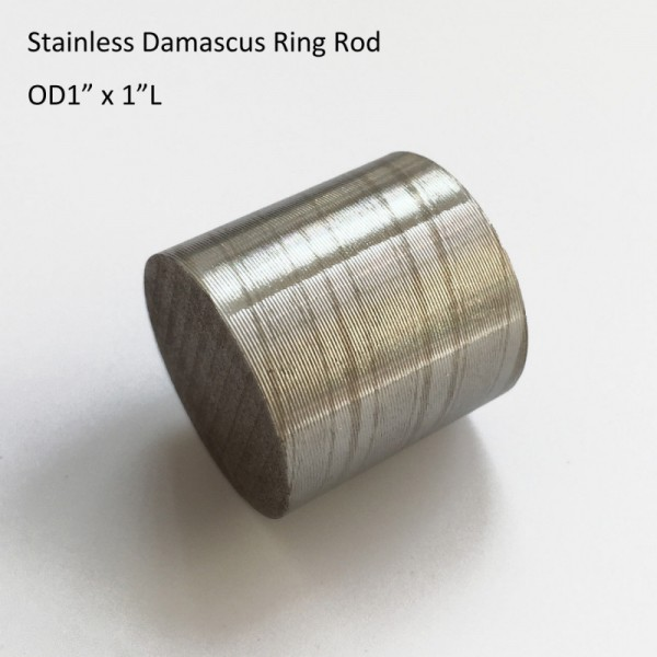 "OD1"" x 1"" L STAINLESS Damascus Steel Mokume Gane Twist Pattern Rod for Wedding Ring"