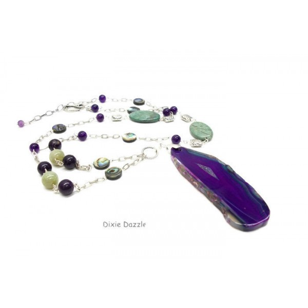 "Long boho style agate slice pendant, geode pendant with amethyst,jasper and abalone shell coin beads. 36"" Statement necklace, madein TN"