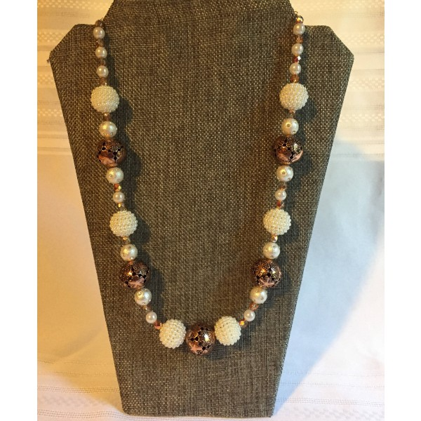 Cooper and Pearl Beaded Necklace