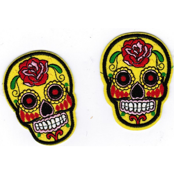 2 Sugar Skull Embroidered Patches Yellow & Red Dia De Muerte Jacket Hat Patch Iron Or Sew On