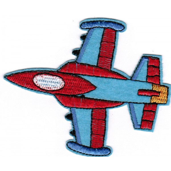 2 Airplane Embroidered Sew On Patches, Iron On Badge, Flying Plane Patch, Red Blue Jet, Notions