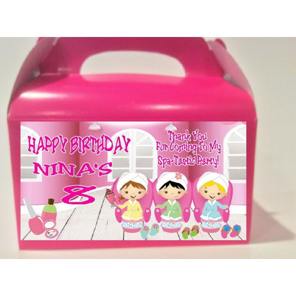 Qty 4 Spa Party Birthday Favor Boxes