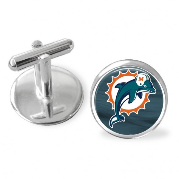 Miami Dolphins cuff links, Dolphins , NFL . Sporty gift, NFLkeepsake, groomsmen gift
