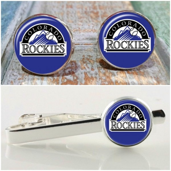 On Sale Colorado Rockies theme cuff links, baseball cufflinks, giftfor men, gifts for guys, Rockies baseball
