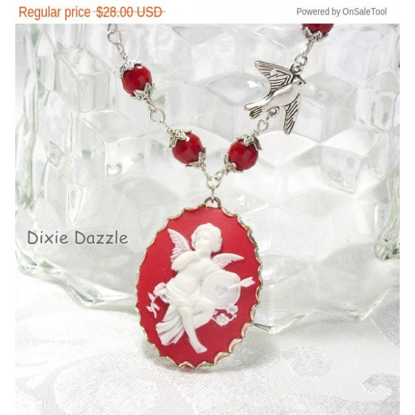 Sale Valentine necklace with cupid cameo, bird and crystal, freeearrings. Valentine's Day gift set, cameo jewelry