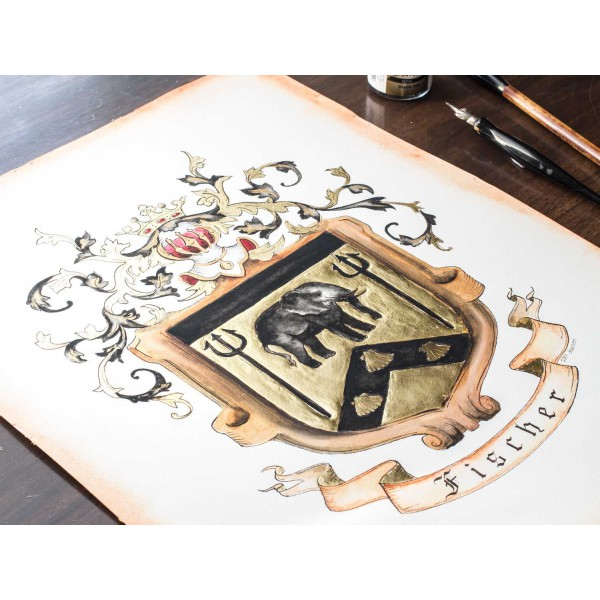"""Original Coat of Arms or Custom Family Crest - 11"""" by 14"""" - personalized art in watercolor"""