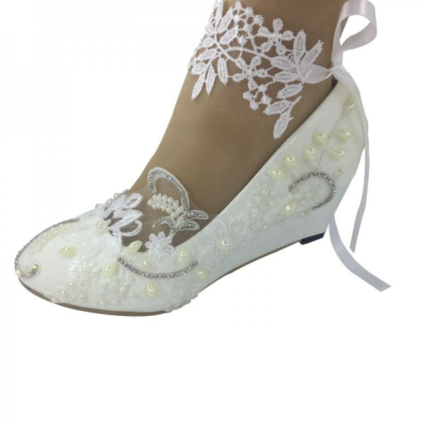 Beautiful women white lace  shinestone Wedding HEEL shoes Bridal Bridesmaid shoes  ankle flowers 35-41