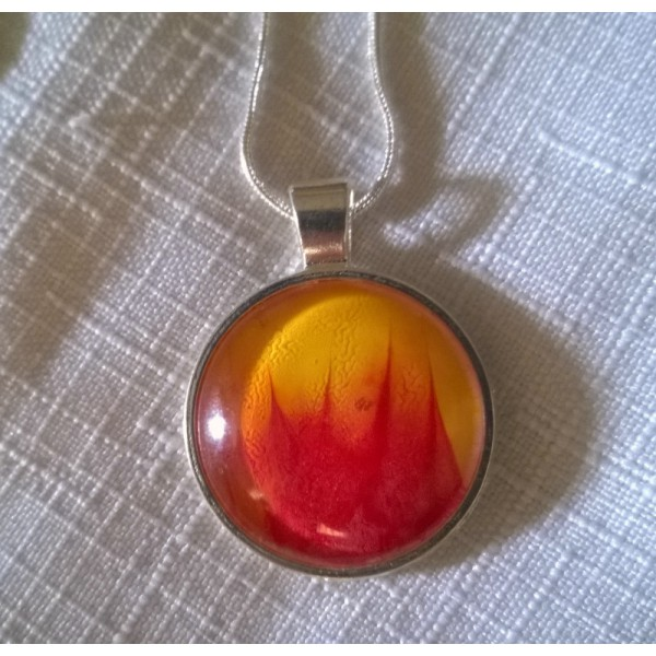 Red Yellow Flame Acrylic Pour Glass Dome Pendant Necklace 925 Sterling Snake Chain Gift Under 15