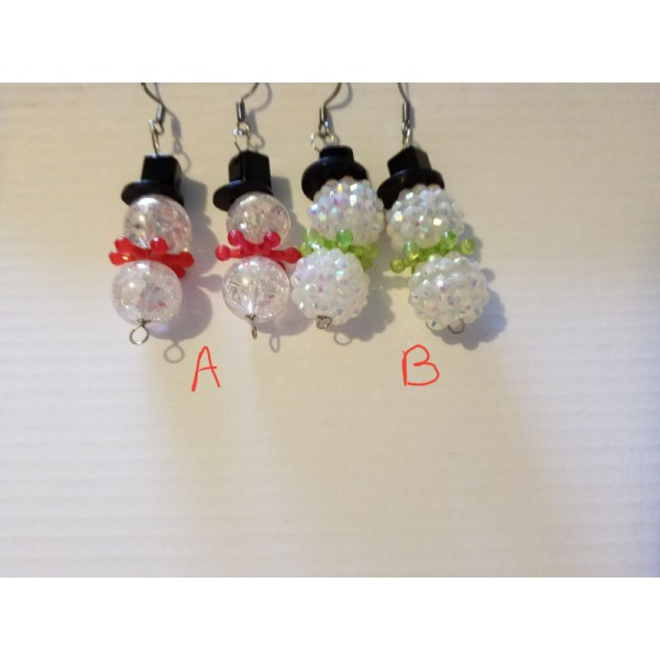 listing for one pair of snowman earrings red or green scafs