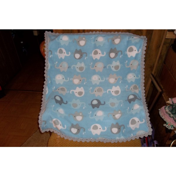 Elephants Blue Baby Fleece Blanket with Light Grey Crocheted Edging Baby Shower Gift Expectant Mom Gift