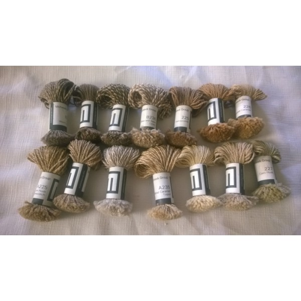 Mohawk Group Wool Yarn Sample Size (14) Mini-Skeins Natural Tones Beige, Tans Lot #7