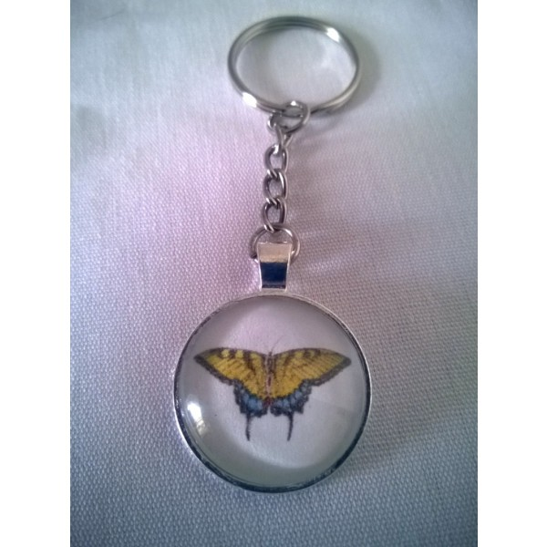 Eastern Tiger Swallowtail Butterfly Glass Dome Pendant Keychain Original Design-Gift Under 10