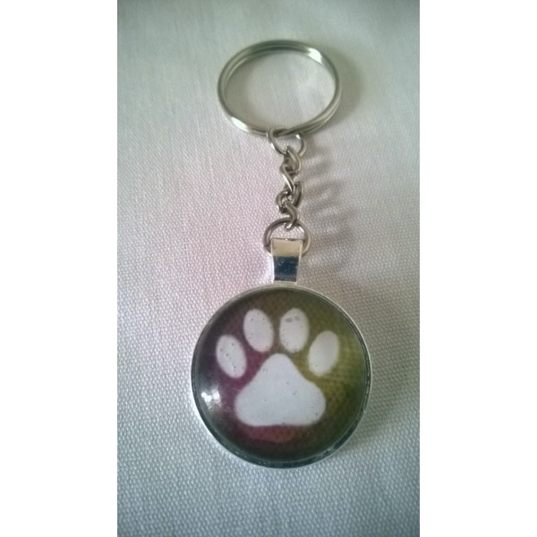 White Cat Paw Print Glass Dome Pendant Keychain Original Design- Gift Under 10