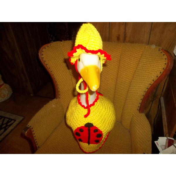 Ladybug Geese Goose Clothing Outfit Crochet Garden Statue Clothes Patio Decor Outdoor Statue