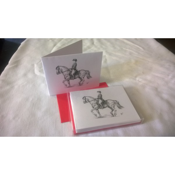 Dressage by J. Renner B/W Blank Notecards w/Envelopes Boxed Set of 5
