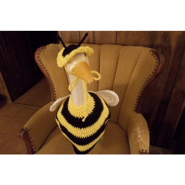Bee Geese Goose Outfit Dress Crochet GardenStatue Clothing Outdoor Decor Garden Decor