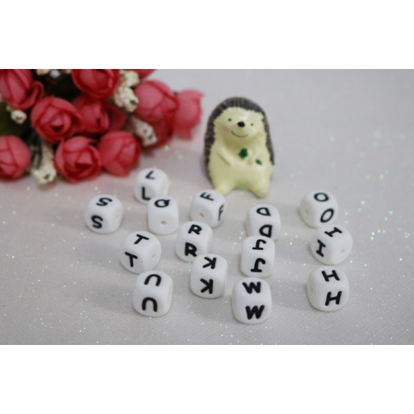 12mm 26 Alphabet Cube BPA Free Baby Teething Necklace Bracelet Silicon Letter Beads - 52 pcs