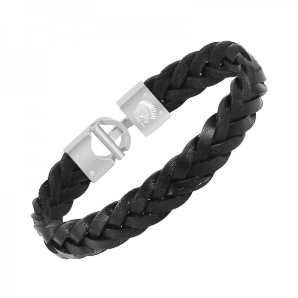 Mens Leather Bracelet – Classic Handmade Braided Black & Brown Cuff Bracelet with Engraved Clasp Free Jewelry Gift Boxed