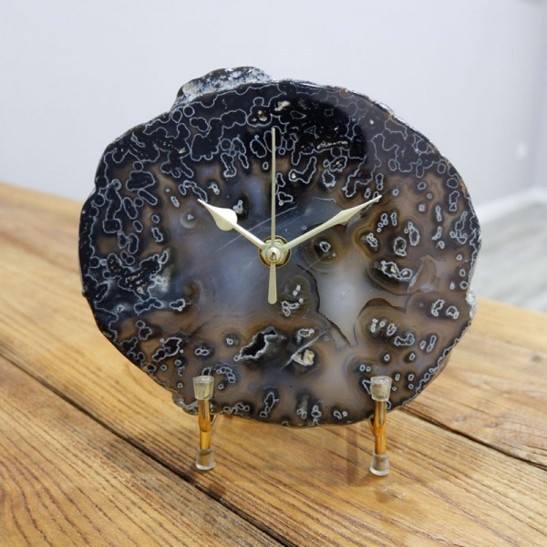 Black Agate clock, Personalised Christmas Gift, Housewarming Present, Personalized Gift, Free shipping