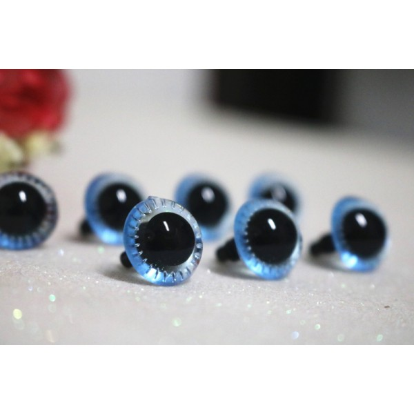 14mm Transparent Crystal Blue Plush Toy Animal Eyes Safety Owl Eyes - 3 pairs / 6 pcs
